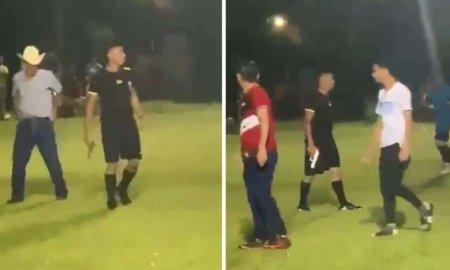Un arbitru din Honduras a scos pistolul pe teren ca sa se apere de jucatori si spectatori