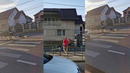 Mamica <span style='background:#EDF514'>GRAVIDA</span> si cei doi copii ai sai, loviti cu masina de un barbat, pe o trecere de pietoni din Arad