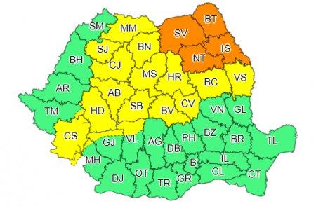 METEO Alerta de furtuni si ploi torentiale in nordul Moldovei. <span style='background:#EDF514'>CODURI</span> portocaliu si galben de vreme severa
