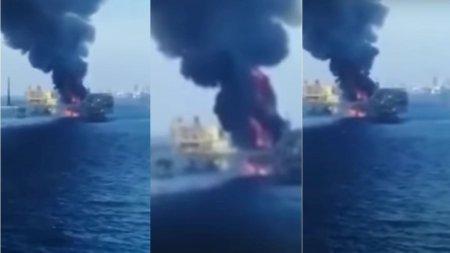 Incendiu pe platforma petroliera a companiei care a provocat