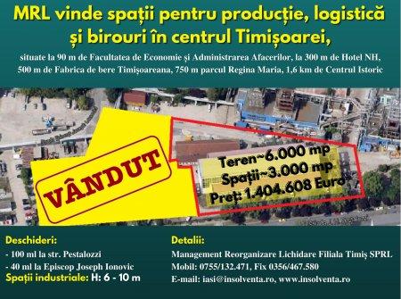 In centrul Timisoarei MRL filiala Timis vinde spatii de birouri, productie si logistica (P)