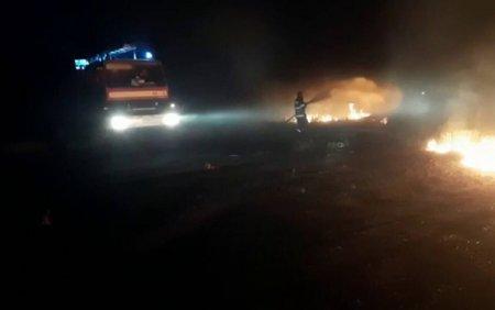 Incendiu de vegetatie care ameninta casele intr-o comuna din Arges, stins cu ajutorul localnicilor