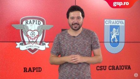 Meciul Zilei Rapid - CSU Craiova. Oltenii incearca sa revina pe loc de play-off