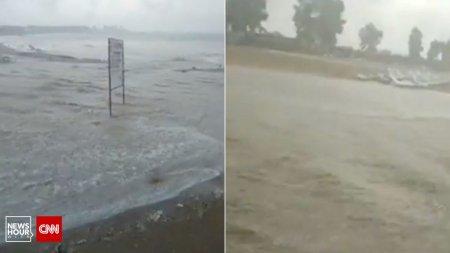 O ploaie torentiala a inundat <span style='background:#EDF514'>PLAJE</span> si hoteluri, pe litoral