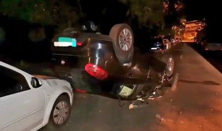 Un sofer beat a lovit patru masini si s-a rasturnat, in Slobozia. Nimeni nu a fost ranit