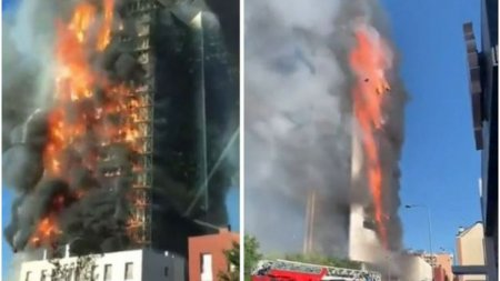 Incendiu de proprtii intr-un bloc din Milano unde locuiau 70 de familii