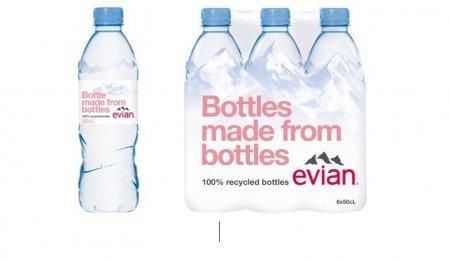 Evian 0,5l in ambalaj rPET, din plastic 100% reciclat, este acum disponibil si in Romania
