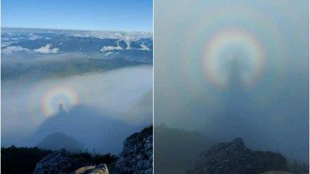 Fenomen rar in <span style='background:#EDF514'>MUNTII BUCEGI</span>: imagini cu efectul Gloria sau omul din nori