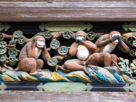 Legenda celor trei maimute intelepte. Ce semnificatie are celebra statuie