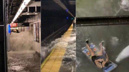 Apa navaleste intr-o statie de metrou din New York. Un sinistrat pe saltea pufaie din narghilea, inconjurat de ape