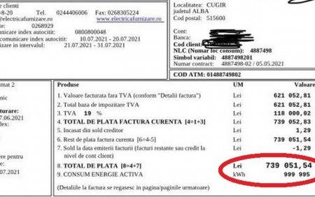 Cugir: Factura de 739.051 de lei la electricitate, emisa pentru un apartament in care nu locuieste nimeni de peste 20 de ani