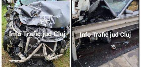 Momentul impactului violent dintre doua masini pe autostrada A1. Centurile au salvat vieti VIDEO