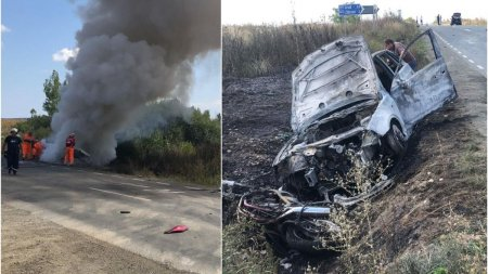 O motocicleta s-a izbit de o masina pe drumul spre Arad si a fost <span style='background:#EDF514'>PROIECTAT</span>a intr-un alt autoturism care a luat foc