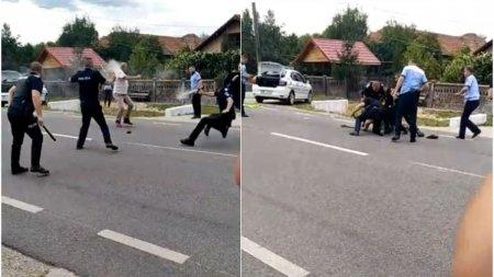 Barbat pus la pamant de opt politisti, dupa ce a lovit un agent cu parul si a <span style='background:#EDF514'>DISTRUS MASINA</span> de Politie, in Gorj