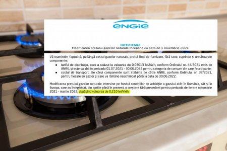 De la 1 noiembrie pretul dumneavoastra la gaze va fi 0,25481 lei pe kilowatt. Marirea este de 38%!