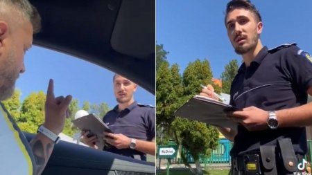 Sofer pus la punct de un tanar politist dupa ce a aruncat un chistoc pe strada, viral pe TikTok