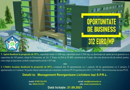 Oportunitate de business in Timisoara. M.R.L. Iasi vinde cladire spital (nefinalizata) convertibila in bloc de locuinte (P)