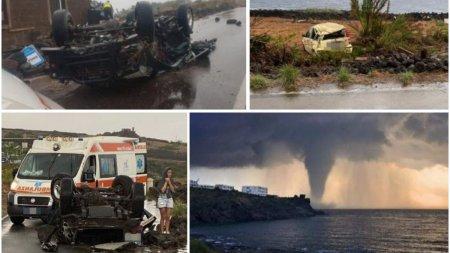 Doi morti si 9 raniti in Italia, dupa ce o tornada a luat pe sus mai multe masini