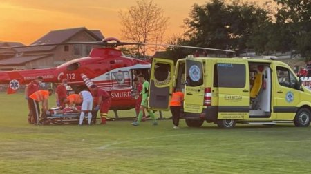 Portarul echipei Liesti a suferit o comotie cerebrala, dupa ce a fost lovit de un adversar. A fost transportat la spital cu un <span style='background:#EDF514'>ELICOPTER</span> SMURD
