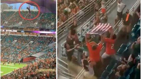 O <span style='background:#EDF514'>PISICA</span> salvata pe un stadion dupa ce a cazut de la etaj, a devenit celebra pe internet. Ea a fost prinsa in steagul Americii, in uralele spectatorilor ambelor echipe