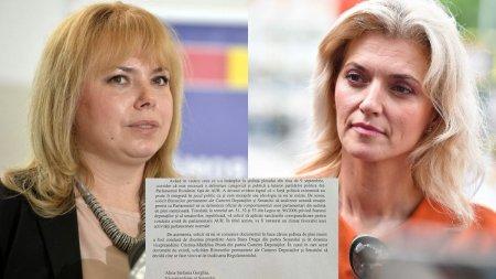 Documentul prin care <span style='background:#EDF514'>ALINA GORGHIU</span> vrea sa o inlature pe Anca Dragu de la conducerea Senatului
