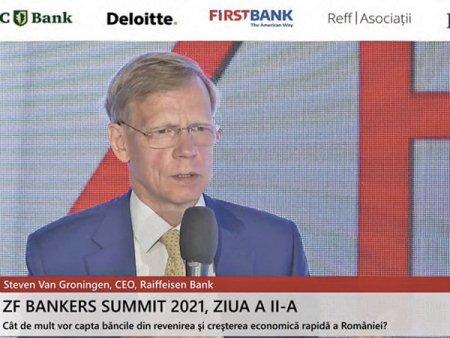 ZF Bankers Summit 2021. Steven van Groningen, CEO <span style='background:#EDF514'>RAIFF</span>eisen Bank: Trebuie sa fim atenti ca economiile romanilor din depozite, conturi curente, investitii in pensii private sa nu paraseasca tara pentru ca avem nevoie de ele aici. Sistemul bancar a iesit bine din criza pentru ca a fost o combinatie de factori. Toti am pus umarul
