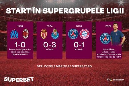 Start in grupele Ligii! Dau Messi, <span style='background:#EDF514'>MBAPPE</span> si Neymar marea lovitura? Vezi Cotele Speciale Superbet
