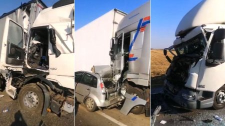 Patru camioane si un autoturism, strivite intr-un <span style='background:#EDF514'>GRAV ACCIDENT</span> la iesirea din Bals