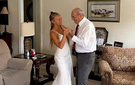 Natalie <span style='background:#EDF514'>BROWN</span>ing e mireasa care a facut un gest impresionant pentru bunicul ei. Bucuria adusa batranului de 94 de ani