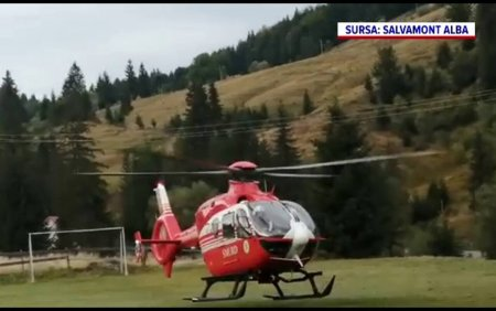 Accident grav in Arieseni. Un sofer, dus la spital cu elicopterul, dupa ce a lovit cu masina un bazin din beton
