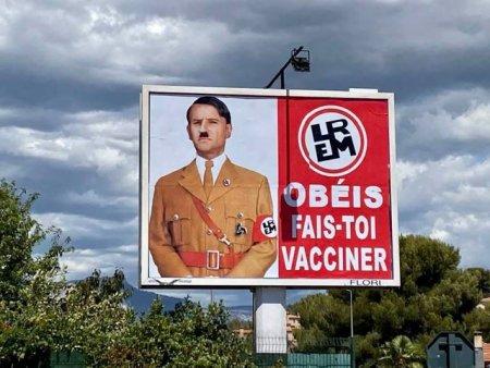 Emmanuel Macron comparat cu Adolf <span style='background:#EDF514'>HITLER</span> intr-un panou publicitar. Amenda primita de autor