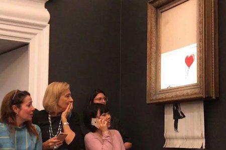Banksy revine: Lucrarea care s-a autodistrus in direct, scoasa din nou la licitatie
