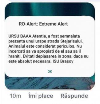 Cercetare disciplinara la <span style='background:#EDF514'>ISU BRASOV</span>, dupa ce un mesaj RO-Alert a inceput cu avertismentul: Ursu baaa