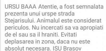 <span style='background:#EDF514'>ISU BRASOV</span>, cercetare disciplinara dupa ce un mesaj RO-Alert a inceput cu avertismentul Ursu baaa
