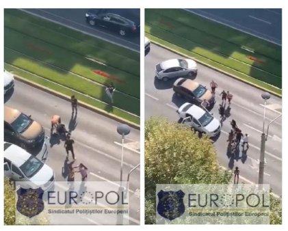 Bataie cu crose de golf, in traficul din Bucuresti - VIDEO