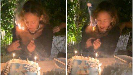 Parul unei cunoscute actrite americane a luat foc in timp ce sufla in lumanarile de pe tortul de ziua ei
