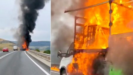 Un camion plin cu mobila a ars ca o torta, pe auto<span style='background:#EDF514'>STRADA</span>, in Cluj