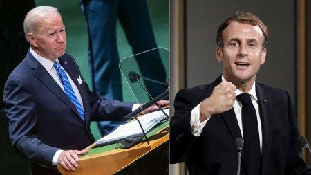 Joe Biden si Emmanuel Macron, prima discutie dupa scandalul sub<span style='background:#EDF514'>MARIN</span>elor
