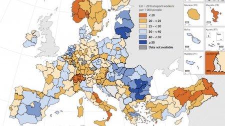 Sudul Munteniei este regiunea din UE cu cei mai multi angajati in transporturi, 65 la o mie de locuitori, potrivit Eurostat