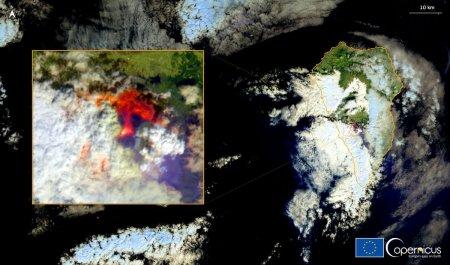 Eruptia vulcanului din insula spaniola La Palma, surpinsa in imagini din satelit