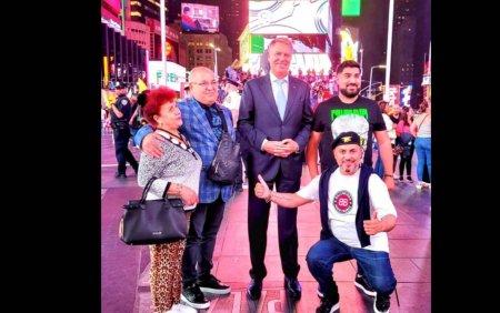 Presedintele Klaus Iohannis, fotografiat cu manelistul Sorinel Pustiu la New York