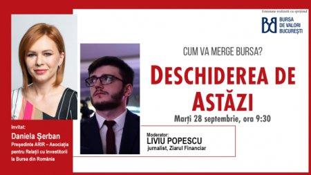 DESCHIDEREA DE ASTAZI. Cum va merge bursa. Urmariti o discutie marti, 28 septembrie 2021, ora 09.30 cu Daniela Serban, Presedinte ARIR - Asociatia pentru Relatii cu Investitorii la Bursa din Romania