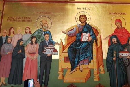Gigi Becali si familia sa, pictati pe peretii unei biserici » Patronul FCSB, langa Iisus Hristos