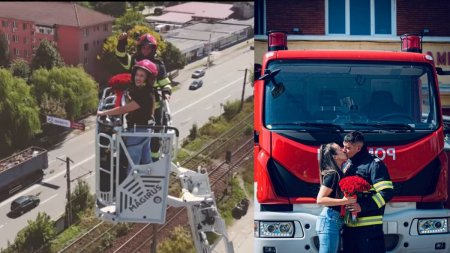Un pompier din <span style='background:#EDF514'>PETROSANI</span> si-a cerut iubita de sotie intr-o nacela de interventie, la 35 de metri inaltime