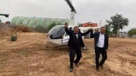 Primar din <span style='background:#EDF514'>DOLJ</span>, dus la nunta cu elicopterul: Daca oi pica, sa pic, da-ma dreacu