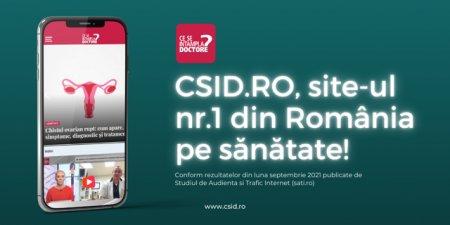 OFICIAL. CSID.ro - cel mai citit site din domeniul Sanatate & ingrijire personala in luna septembrie