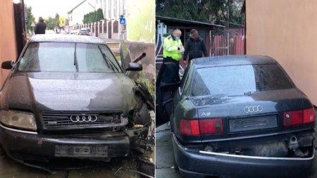 O <span style='background:#EDF514'>BATRANA</span> din Arad s-a trezit cu o masina distrusa in curte. Șoferul e de negasit