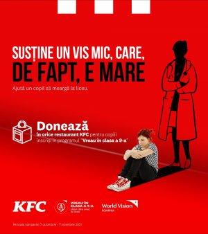 KFC se alatura World Vision Romania in lupta pentru reducerea abandonului scolar prin programul de strangere de fonduri Vreau in clasa a 9-a