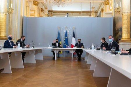 Volodimir Zelenski a vorbit cu Emmanuel Macron si Angela Merkel despre eforturile pentru incheierea conflictului din Ucraina