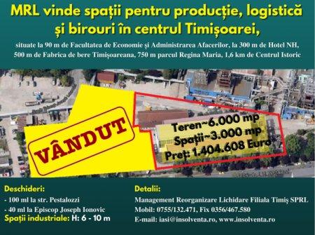 (P) MRL vinde spatii pentru productie, logistica si birouri in centrul Timisoarei